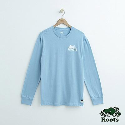 Roots-男裝- 左胸山形長袖T恤-藍