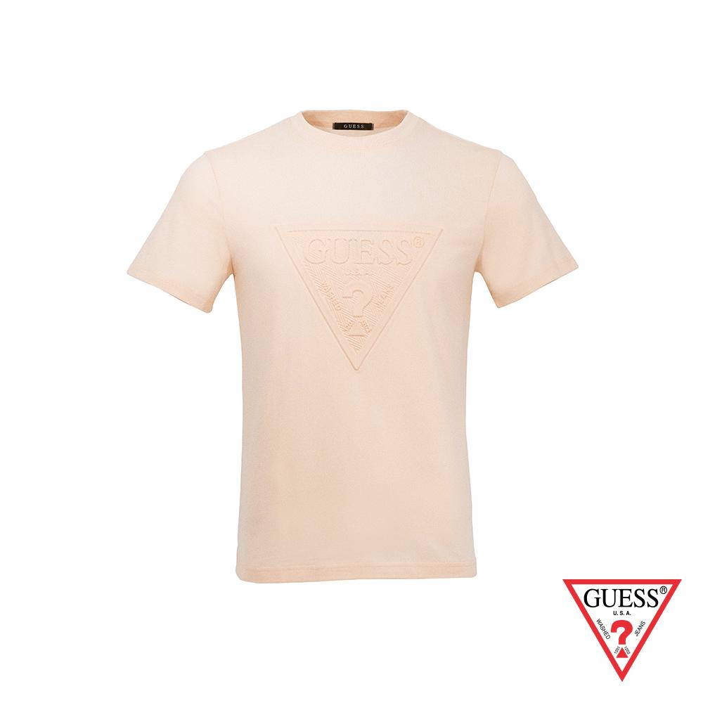 GUESS-男裝-浮雕經典LOGO短T,T恤-淺橘 原價1390