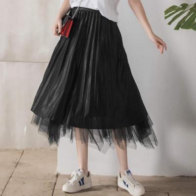 La Belleza兩面穿假兩件網紗拼接緞面百褶裙光澤感亮面大擺裙