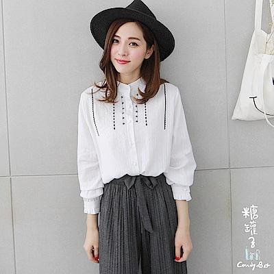 糖罐子-立領珍珠釦刺繡線條棉麻直紋襯衫(白)