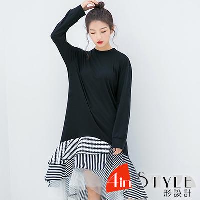 圓領不規則條紋拼接洋裝 (黑色)-4inSTYLE形設計