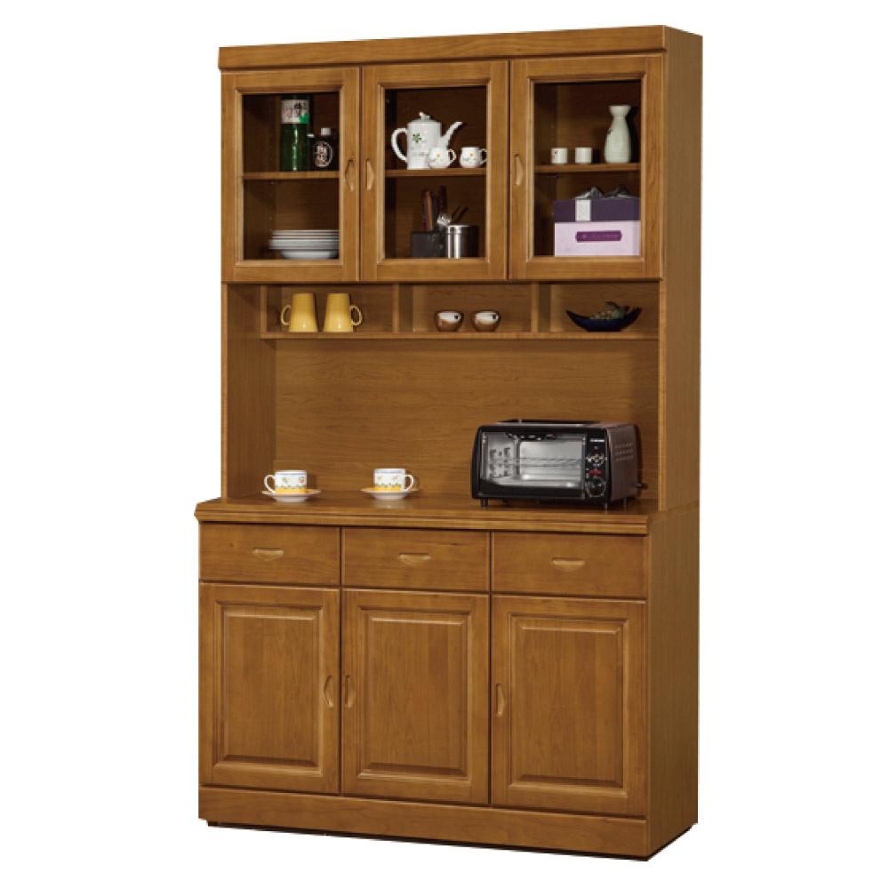 綠活居 尼圖曼時尚4尺實木餐櫃/收納櫃組合(上+下座)-120x44x205cm-免組