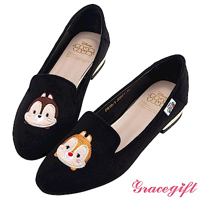 Disney collection by grace gift-造型絨布樂福鞋 黑