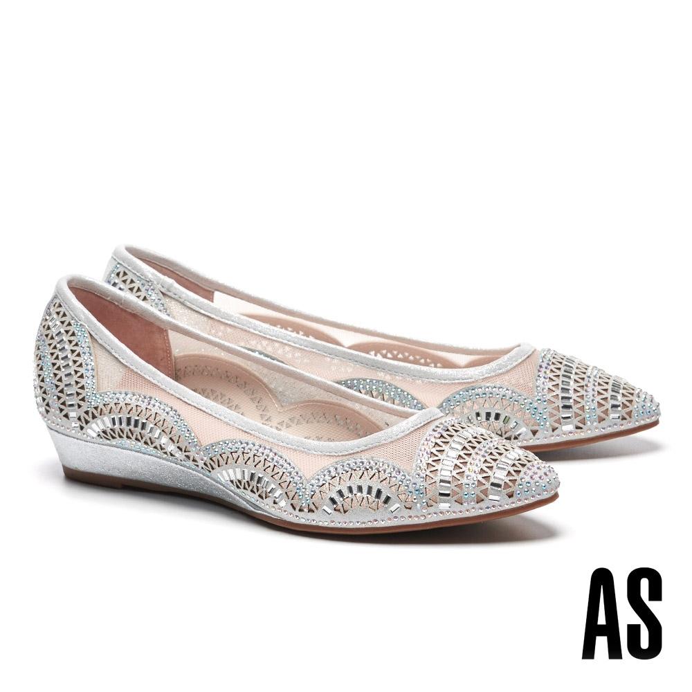 低跟鞋 AS 高雅裸膚晶鑽沖孔尖頭楔型低跟鞋-銀