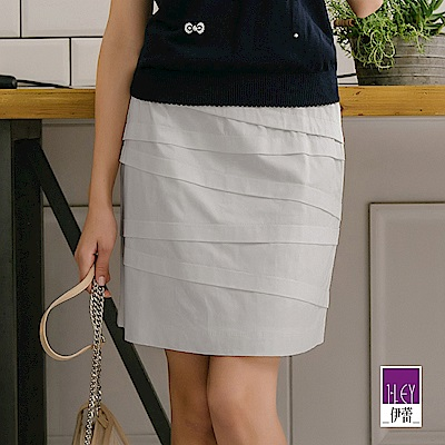ILEY伊蕾 層次造型A字繃帶裙(白/灰/藍)