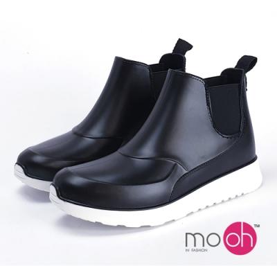 mo.oh愛雨天-情侶款運動風鬆緊帶短雨靴-黑
