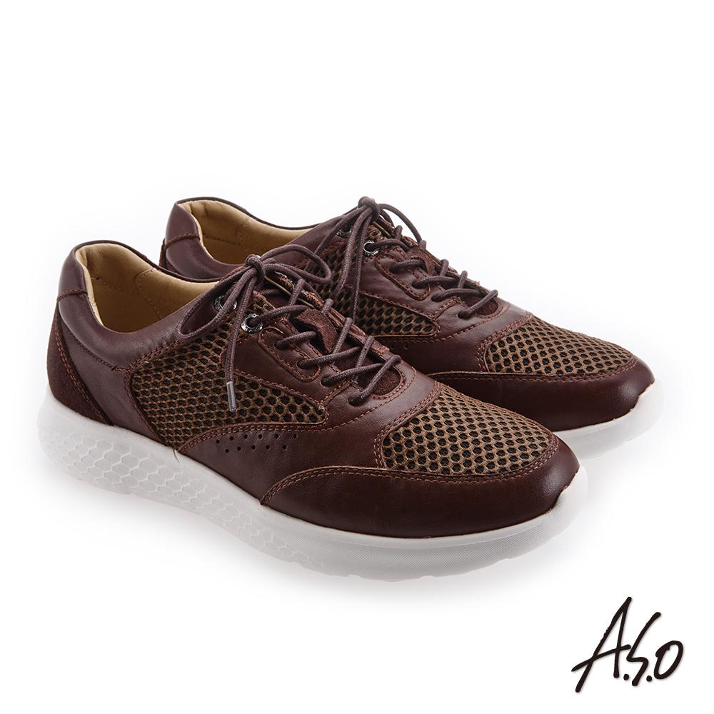 A.S.O 活力雙核心 網布皮革拼接休閒鞋 咖啡