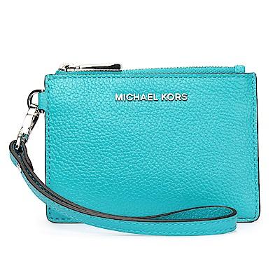 MICHAEL KORS Mercer 銀LOGO荔枝紋皮革證件零錢手拿包-藍綠色