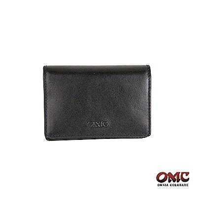 OMC 義大利進口牛皮翻蓋3卡透明窗名片夾-黑色