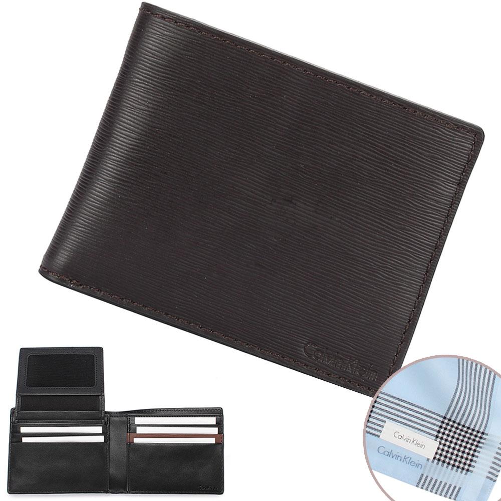 Calvin Klein 經典水波紋壓印LOGO短夾-黑/咖啡(加贈帕巾)