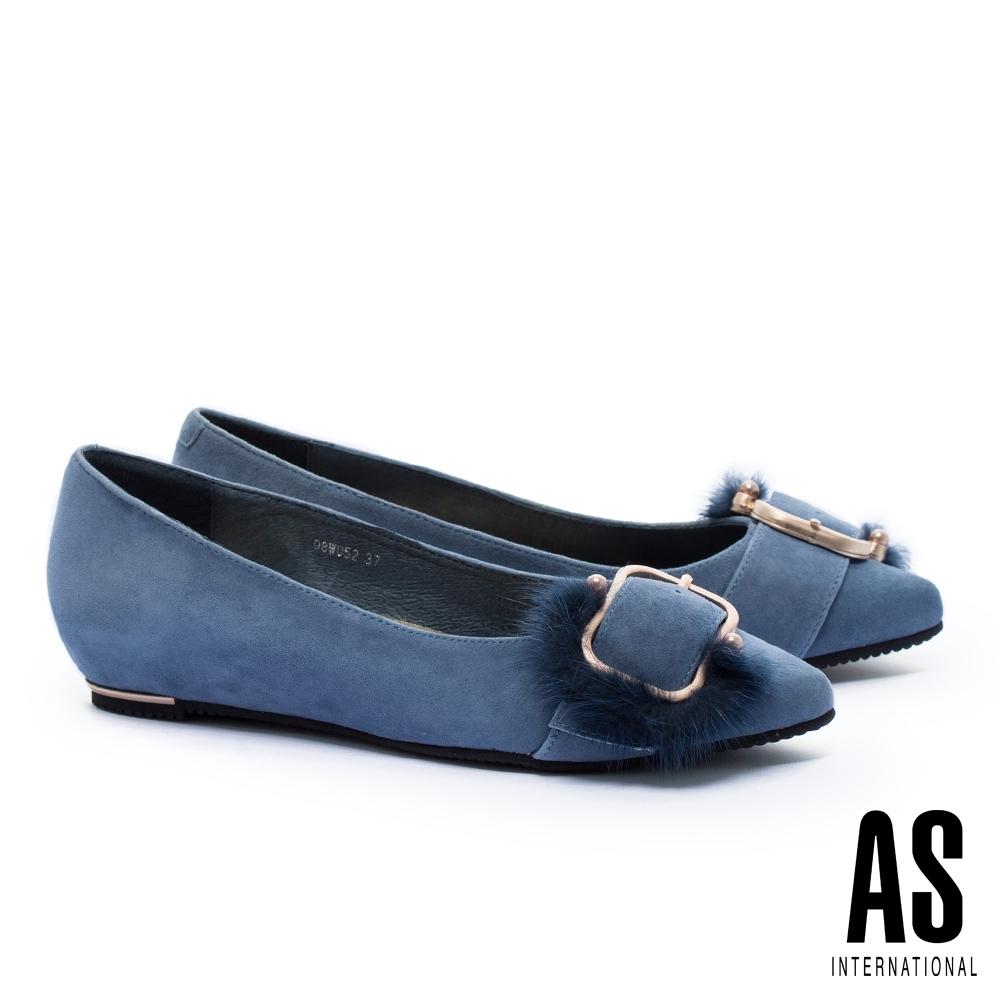 低跟鞋 AS 奢華貂毛釦飾全真皮內增高尖頭低跟鞋-藍