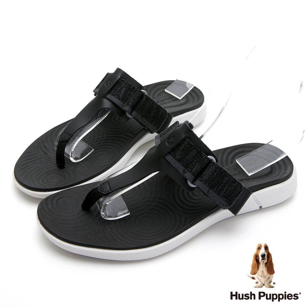 Hush Puppies 人氣輕量魔鬼氈夾腳拖鞋-黑色