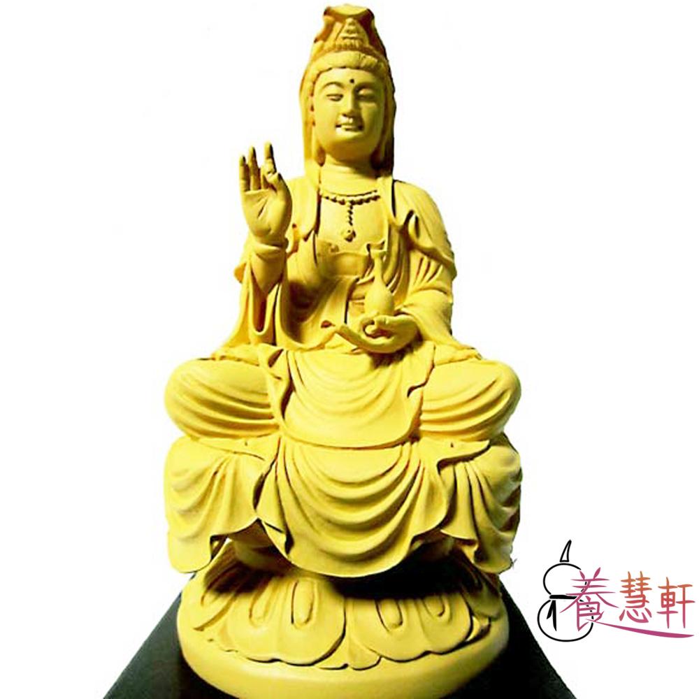 養慧軒 金剛砂陶土精雕佛像 4寸 淨瓶蓮花觀音菩薩(木色)(高15cm)