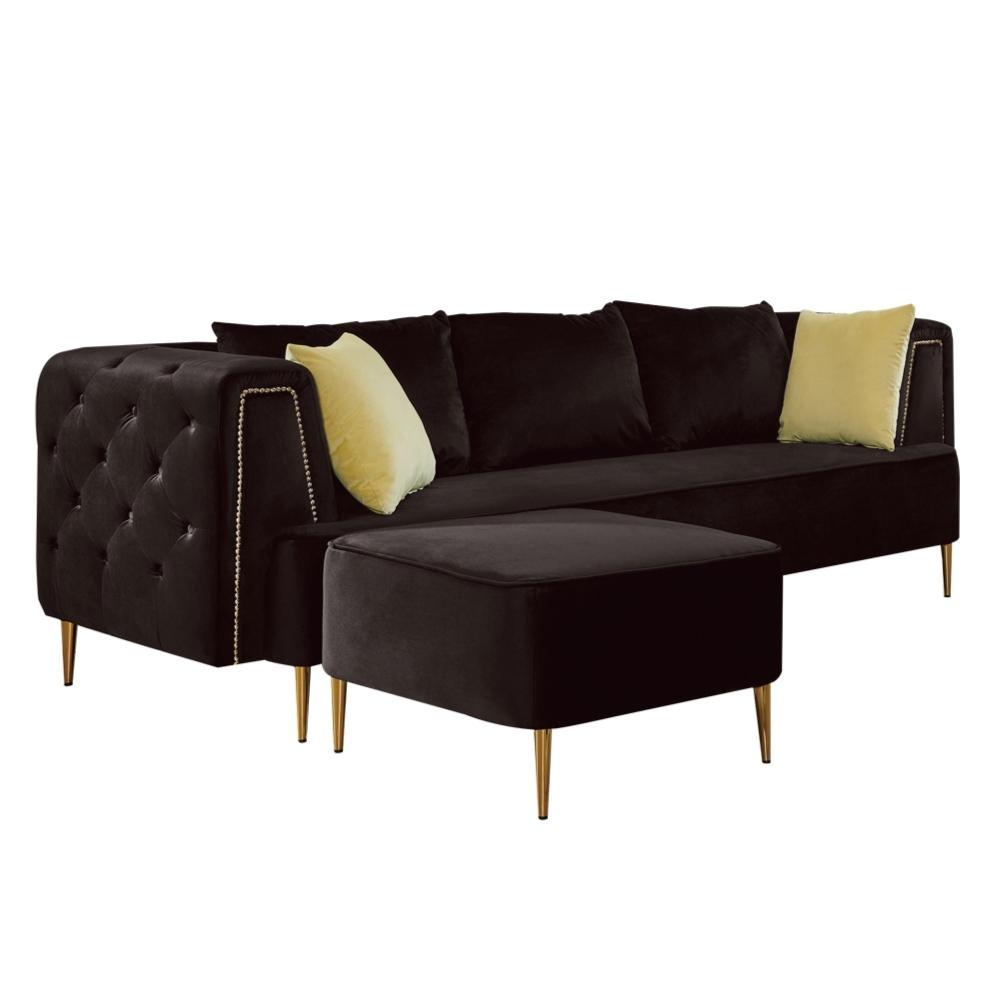 文創集 艾柏斯L型沙發(左&右向+三人座+椅凳)-218x159x76cm免組
