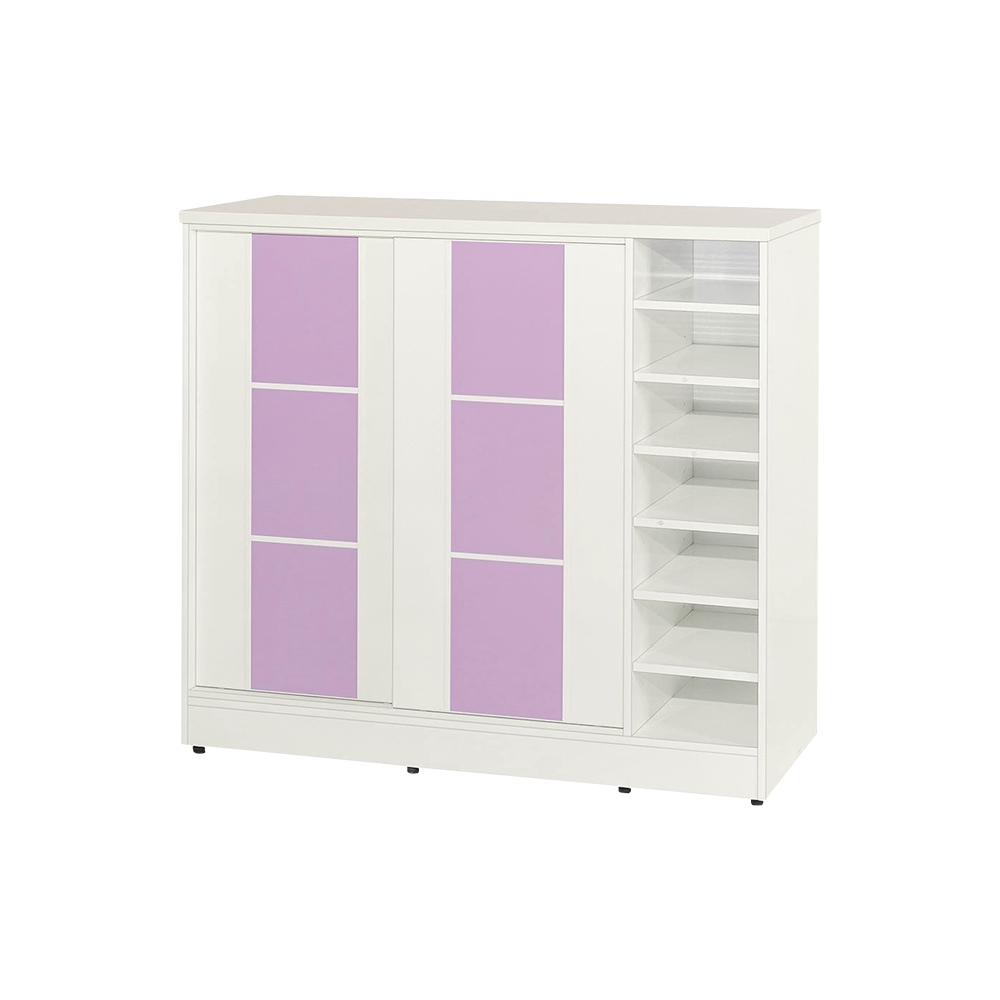 Birdie南亞塑鋼-3.8尺方塊直飾條二推/拉門右開放防水塑鋼鞋櫃(白色+粉紫色)-115x41x103.5cm