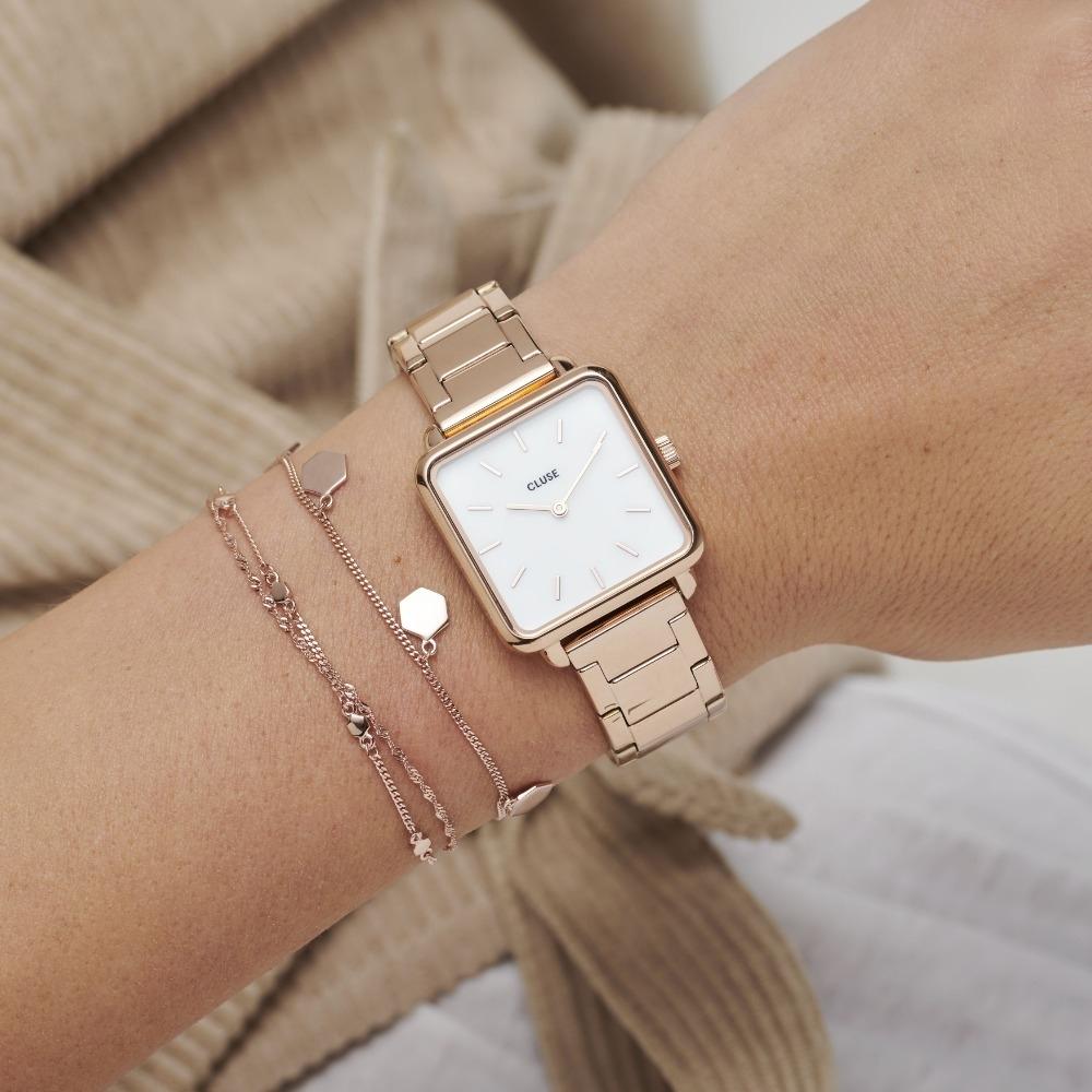CLUSE La Tetragone 方框腕錶(玫瑰金框/白錶面/玫瑰金扣鍊)28.5mm