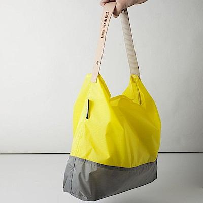 可收納式時尚托特包 (肩背雙色版) 亮黃/灰