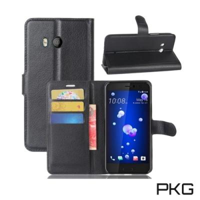 PKG HTC U11 側翻式-精選皮套-經典款式-黑