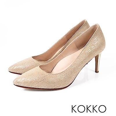 KOKKO - 皇后高貴品格真皮尖頭高跟鞋-玫瑰金