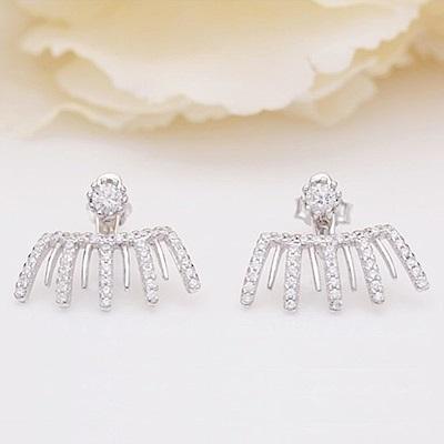 米蘭精品 925純銀耳環-梳子鑲鑽耳環