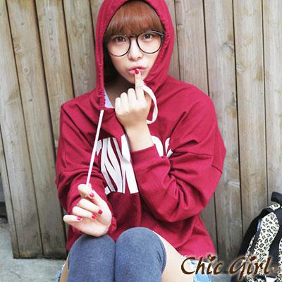 字母圖案長袖連帽棉T恤(酒紅色)-Chic Girl