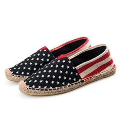韓國KW美鞋館 (現貨+預購) 星星圖後粗紅白條歐美外銷草編休閒帆布鞋-藍