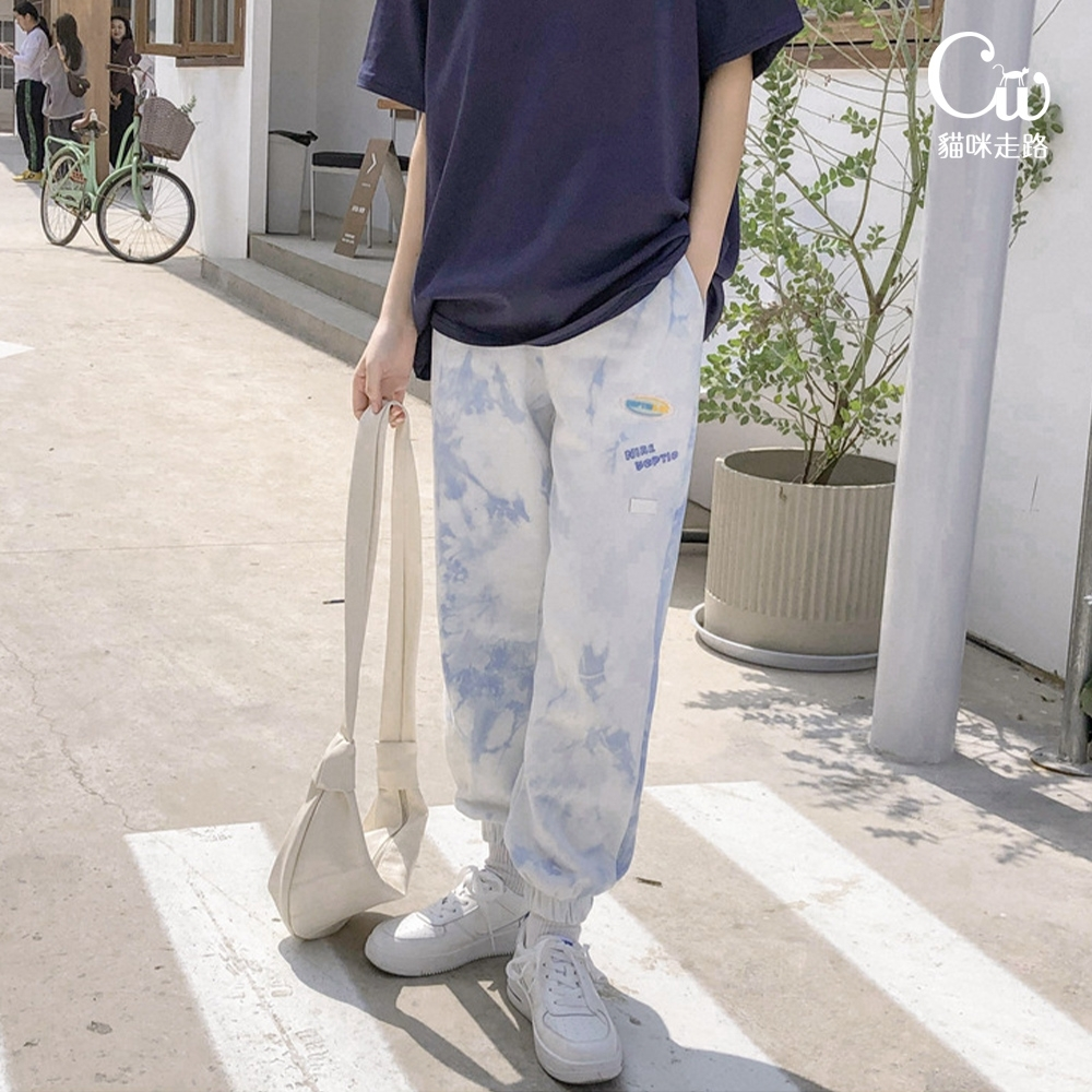 [CW.貓咪走路]街頭港風紮染休閒運動棉褲(KDP-11039) (彩繪)