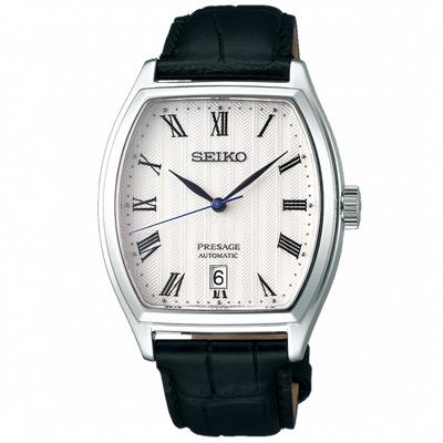 SEIKO 精工 Presage典藏真皮機械手錶 SRPD05J1-白X黑/37mm