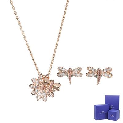 SWAROVSKI 施華洛世奇 Eternal璀璨水晶蜻蜓雛菊玫瑰金色項鍊+耳環組合