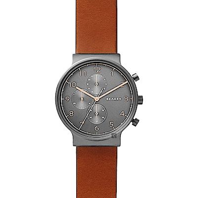 SKAGEN Ancher 創意簡約石英計時錶-灰x咖啡/40mm (SKW6418)
