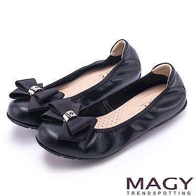 MAGY 甜美舒適 蝴蝶結鬆緊帶牛皮娃娃鞋-黑色