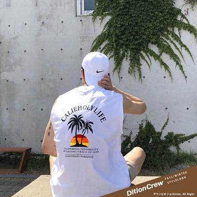 DITION 椰子樹CALIFORNIA落肩背心 肌肉海灘健身背心 復古偉士牌 HONDA