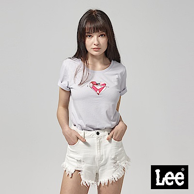 Lee 虛實幾何愛心短袖圓領TEE--紫