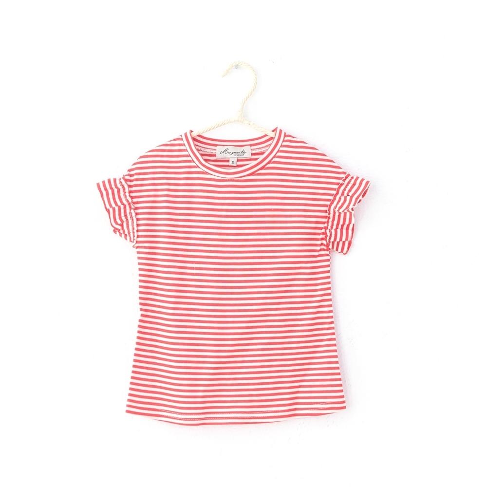 小雛菊 MARGUERITE 百搭荷葉袖小上衣-橘紅條紋