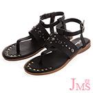 JMS-造型鉚釘鑲嵌繫帶環裸夾腳平底涼鞋-黑色