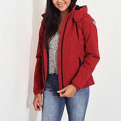 HCO Hollister 經典熱銷標誌鋪棉保暖連帽風衣外套(女)-紅色