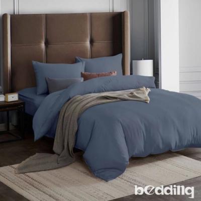 BEDDING-3M專利+頂級天絲-素色系列-特大雙人薄床包+雙人兩用被套四件組-瓦灰