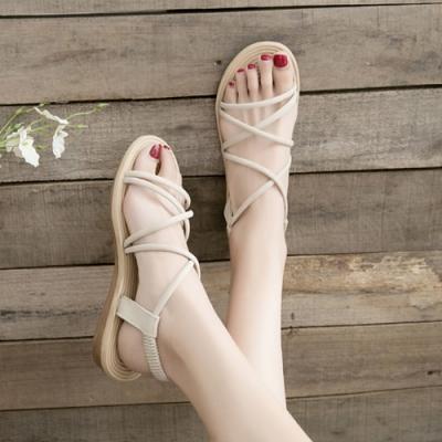 KEITH-WILL時尚鞋館 獨家價新品躍動美腿平底涼鞋-米