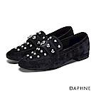 達芙妮DAPHNE 平底鞋-珠飾短絨低跟樂福平底鞋-深藍