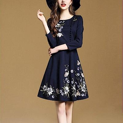典雅花卉刺繡洋裝連身裙M-3XL-M2M