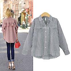 MOCO雙口袋背整排連袖荷葉邊多色格紋襯衫XL~4L