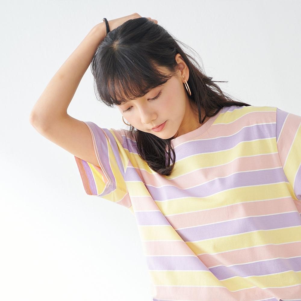 慢 生活 粉彩系寬條紋棉質T恤- 紅藍條/紫黃條