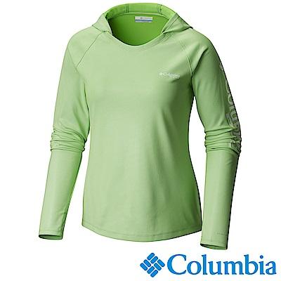 Columbia哥倫比亞 女-PFG抗曬50快排長袖連帽上衣-綠UFE00340GR