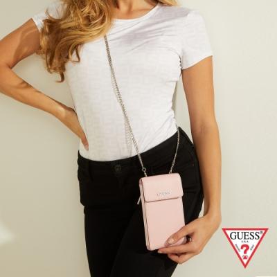 GUESS-女包-時尚鏈條純色手機包-粉 原價2090