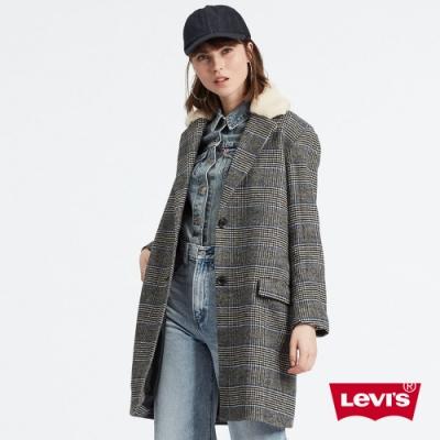 Levis 女款 長版羊毛大衣 復古格紋 Sherpa棉花絨領 內層口袋
