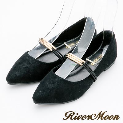 River&Moon大尺碼-芭蕾金屬光澤絨料尖頭娃娃鞋-時尚黑