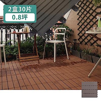 【家適帝】頂級抗腐仿實木防滑防火塑木地板(30片/0.8坪)