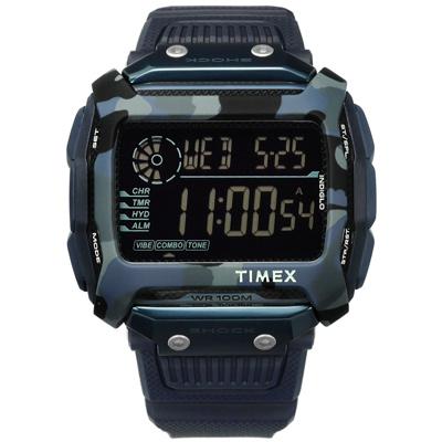 TIMEX 天美時 迷彩 遠征系列 極限運動  電子顯示 橡膠手錶-黑x藍/54mm