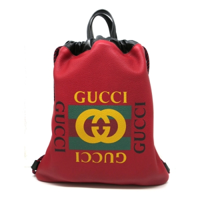 GUCCI Small Print Drawstring Backpack 手提/後背包-小(523586-紅)