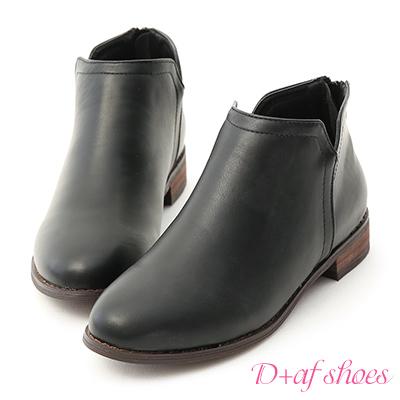 D+AF 好感加分.側V口平底精靈短靴*黑